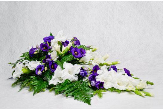 01. Kukkalaite valkoinen gladiolus ja sininen eustoma