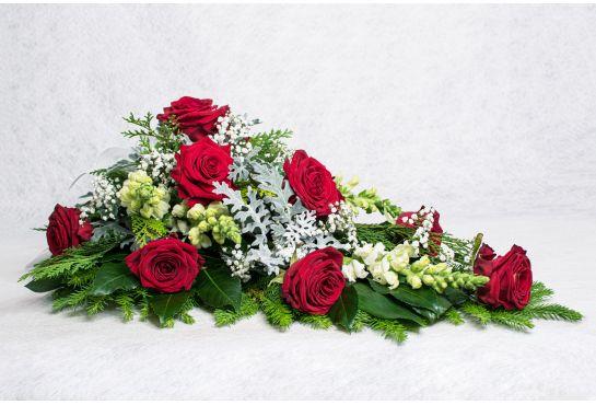 41. Kukkalaite punainen ruusu, valkoinen leijonankita, harso ja hopealehti