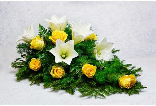 34. Kukkalaite keltainen ruusu ja valkolilja